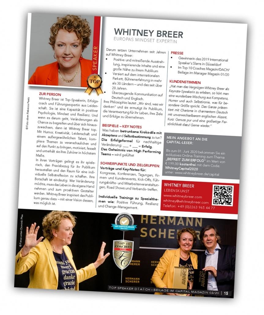 Whitney Breer - Top Speaker im Capital-Magazin März 2020